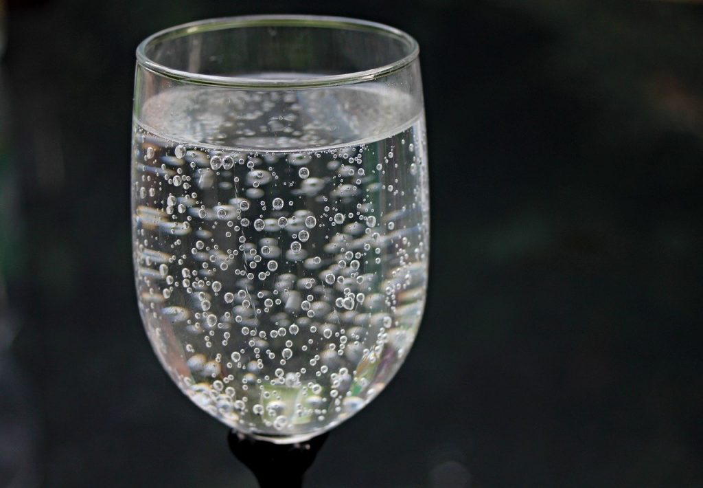 water glass, water, mineral water