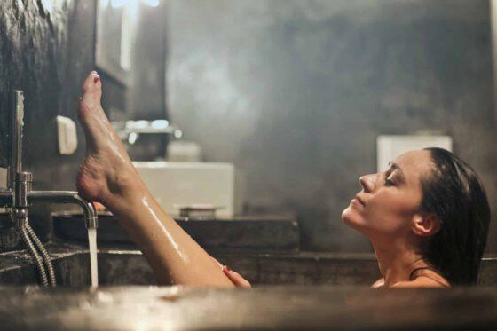 woman lifting his leg